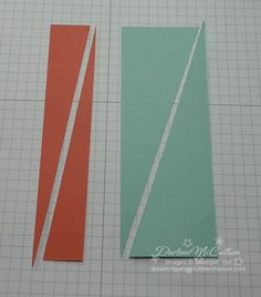 Sunburst technique, Cut pieces of card stock and/or designer series paper to either 1 x 6 or 2 x 6. Cut pieces diagonally.