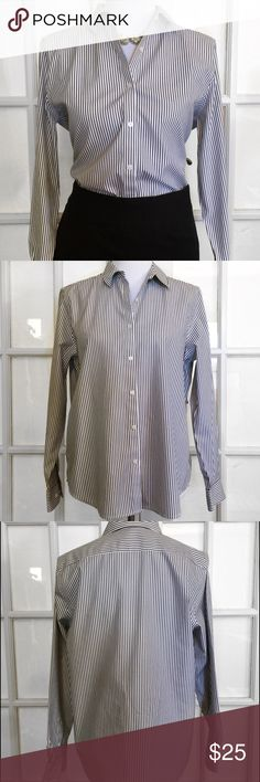 Jones New York Grey Stripe Button Down Smart and classy, this is a perfect Blouse for work. Pair with Skirt or slacks and make a sexy statement! Machine washable, non-iron. Jones New York Tops Button Down Shirts