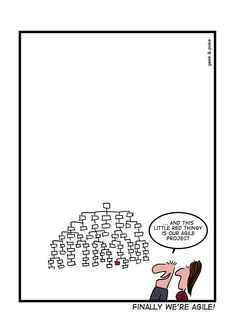 Finally we're agile! This is hilarious! Take break from your scrum methodology and software development project with this funny comic. Manager Humor, Programmer Humor, Inbound Marketing, Best Practice, Tech Humor, Web Design, Work Humor, Office Humor, Funny Cards
