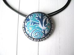 Blue Statement Necklace Romantic Pendant Art Jewelry Pendant Gift For Mum Boho Style Pendant Gift For Wife Art Deco necklace Trending Jewels by TemptedByArt on Etsy