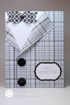 handmade Father's Day card ... black, white and gray ... luv this shaped card ... plaid suid with a dimensional bow tie and real buttons ... like the whole design, especially the off-set so a sentement label could be added ....: