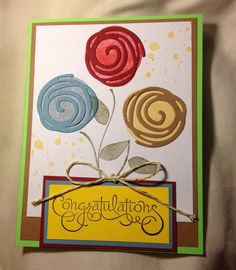 Flower card Stampin Up Swirly Die Cut by DawnsBlanchCards on Etsy