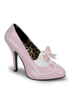 Bordello Tempt 02 Baby Pink and White Patent Mini Concealed Platform Sexy Mid Heel Court Shoes Pink High Heels, High Heel Pumps, Pumps Heels, Stiletto Heels, Pink Pumps, Retro Heels, Sexy Heels, Pin Up Shoes, Me Too Shoes