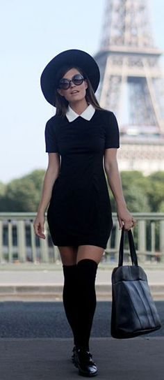 Audrey Leighton Rogers is wearing a black Contrast Collar Dress, Knee High Socks. Audrey Leighton Rogers is wearing a black Contrast Collar Dress, Knee High Socks, Hat, Flats and a Weekend Bag all from Boohoo Mode Outfits, Fall Outfits, Fashion Outfits, Womens Fashion, Fashion Trends, Latest Fashion, Christmas Outfits, Woman Outfits, Fashion Weeks