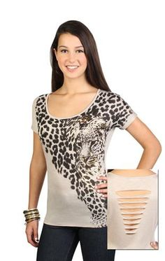 cheetah tee with face screen and gold foil