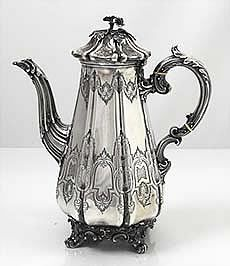 English antique silver coffee pot in the Gothic style by the Barnard Brothers London 1844