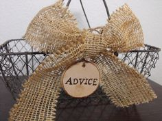 Set Of Two Wire Baskets Cards Favors Advice  Center Pieces Personalized With Wedding Date Rustic Woodland Outdoor Country Chic Wedding. $50.00, via Etsy.