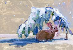 """Bunny in a Snowy Scene  8"""" x 6""""  oil on board.   Had my camera on a snowshoe walk, so I took the photo, and painted the bunny with the 'Charlie Brown tree' (one day) in my warm studio."""