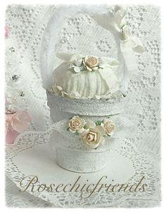 Cream/White Spring Easter Egg Basket Peat Pot by RoseChicFriends