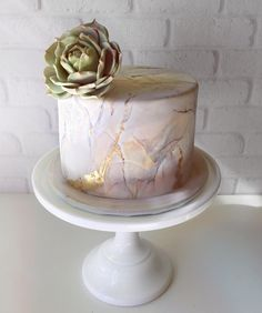 Day 2 of yummy birthday cakes! How exquisite is this cracked marble cake from ? sugar succulent cracked marble in muted pastels a hint of gold it's definitely a good day when I get to make sugar succulents and bring out the paint brush 16 Birthday Cake, Birthday Cakes For Women, Birthday Woman, Birthday Ideas, Pretty Cakes, Cute Cakes, Beautiful Cakes, Fondant Cakes, Cupcake Cakes