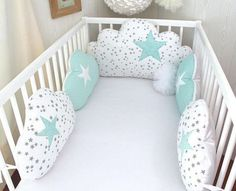 Delivery delay for making the item see delivery. Please contact me for more information Hand made cot bumpers, 5 lovely cloud cushions big cushion for the top bed, 60 or wide (to choose in option) ,in white with little grey stars cotton fabric s Cloud Cushion, Cloud Pillow, Baby Cot Bumper, Baby Cribs, Baby Bedroom, Baby Room Decor, Quilt Baby, Small Cushions, Baby Pillows