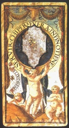 Ace of Coins from the Sola Busca Deck:   Meaning of Ace of Coins from the Sola Busca Deck   Upright:   The beginning of a financial endeavor. Success obtained through service and perseverance.   Reversed:   Passivity. Being pulled along by fate or the will of others.  source: Italian Tarot/Sola Busca/Italy, c.1491.