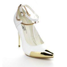 WILDROSE WINSLET01 Women's Metallic Pointy Toe Buckle Ankle Strap Stiletto Pumps, Color:WHITE, Size:8 Wild Rose http://www.amazon.com/dp/B00K6ZMSVI/ref=cm_sw_r_pi_dp_tEP8ub14JMGKG