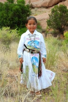 Navajo traditional dress in Blue Bird flour sack. Found on discovernavajo