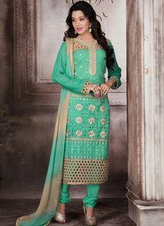 USD 61.06 Mint Green Georgette Churidar Suit 55886
