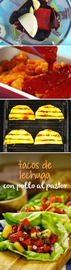 Estos tacos de lechuga son una receta saludable perfecta para cuando estás a dieta. Sustituye la tortilla y rellena con pollo al pastor adobado que te quedará para chuparse los dedos.