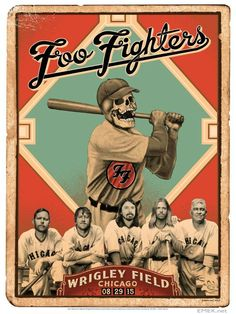 2015 Foo Fighters - Chicago Silkscreen Concert Poster by Emek Foo Fighters Poster, Foo Fighters Dave Grohl, Omg Posters, Band Posters, Chicago Poster, Chicago Usa, Sonic Art, Concert Posters, Art Music