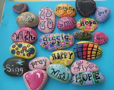 """My """"expressions"""" rocks I painted"""