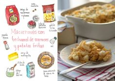 Gastro Andalusi ♥ Recetas ilustradas: PASTA; Macarrones con bechamel de morrones, queso semicurado de cabra y patatas fritas