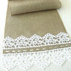 Burlap table runner with hand crouched  white lace wedding table runner table decor handmade in the USA, Ready to ship