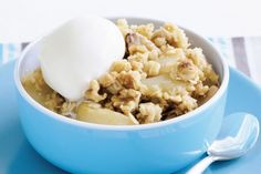 A warm apple crumble dessert layered with rich smooth icecream is the ultimate cold night dessert.