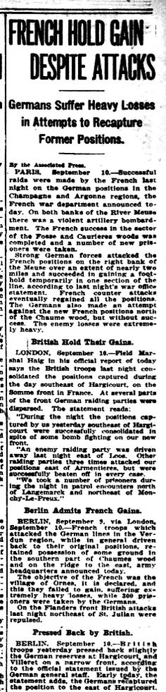 """WWI, 10 Sept 1917; """"Enemy losses extremely heavy"""" - Evening Star, Washington"""