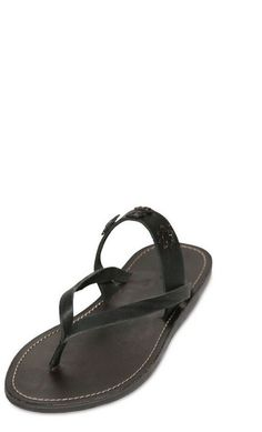 65c33b40b89440 Dsquared2 Leather Flip Flips with Metal Badges in Black for Men - Lyst  Dsquared2