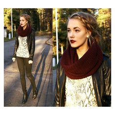 Cranberry lipstick and chunky scarf with light-colored top