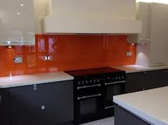 Grey Kitchen With Orange Splashback Google Search For The