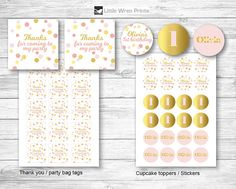Confetti Party Decorations Pink and Gold theme ideas cupcake toppers water drink bottle labels wrappers chocolate hersheys wrappers thank you party bag tags