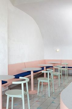 Delight In Escapism At Vacation Café (The Design Files) Pastel Interior, Bar Interior, Interior Design, Brewery Interior, Cafe Restaurant, Restaurant Design, Modern Restaurant, Cafe Bar, Minimalism Living