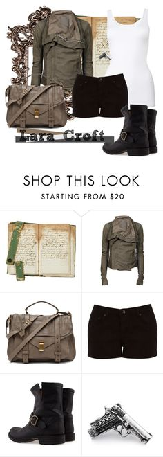 """Lara Croft"" by unarmariodecine ❤ liked on Polyvore featuring Franklin, Rick Owens, Proenza Schouler, Oasis, Fiorentini + Baker, Club Manhattan, tomb raider, lara croft and angelina jolie"