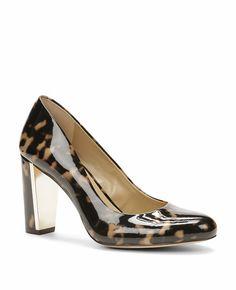Shara Tortoiseshell Patent Leather Block Heel