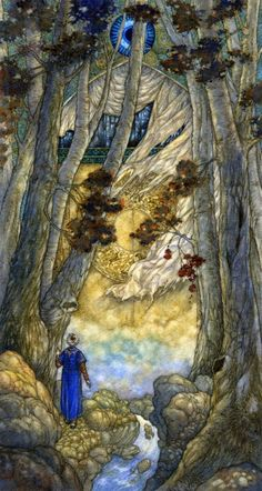Niroot Puttapipat, illustration for the Rubaiyat of Omar Khayyam, Folio Society, Quatrain 32 : There was a Door to which I found no Key / There was a Veil past which I could not see / Some little Talk awhile of ME and THEE / There seem'd - and then no more of THEE and ME.