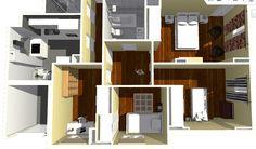 Detalle de zona de dormitorios y cocina.