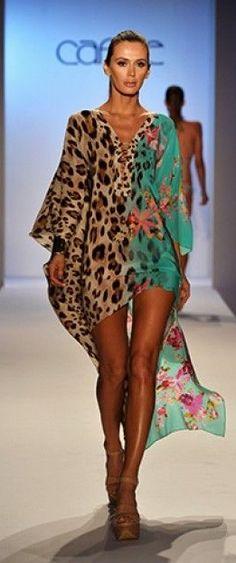 Half and Half Print Beach Kaftan by Caffé Swimwear 2014 Animal Print Fashion, Fashion Prints, Animal Prints, Outfit Strand, Swimwear 2014, Mode Boho, Swimsuit Cover, Swim Cover, Beach Dresses