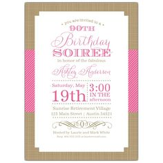 Nashville Pink 90th Birthday Invitations | PaperStyle