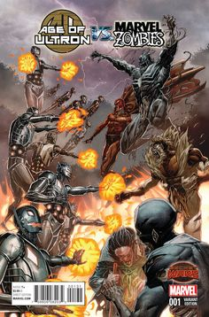 AGE OF ULTRON VS. MARVEL ZOMBIES #1. Marvel Comics. written by James Robinson, and illustrated by Steve Pugh, and colored by Jim Charalampidis, with a cover by Carlos Pacheco, a variant cover by Rock-He Kim, an Agents of S.H.I.E.L.D. variant cover by Nathan Fox, an Ant-sized variant cover by Pat Broderick, a Baby variant cover by Skottie Young, and a Blank variant. This is the variant cover. Released on June 24, 2015.