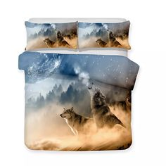 Bed Sets Wholesale White Wolf Theme Luxury Bedding Set Wolf Bedding Sets 3pcs Colorful Bedding Wholesale Wolf Theme 3d Art Luxury 3pcs Bedding Set Online with $67.76/Piece on Beddingsets3d's Store | DHgate.com Blanket Cover, Quilt Cover Sets, Duvet Bedding, Cotton Bedding, Colorful Bedding, Unique Bedding, Star Sky, Duvet Sets, Bed Covers