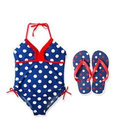 Love this Blue Dot One-Piece & Flip-Flop - Girls by Jump'N Splash on #zulily! #zulilyfinds