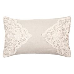 Linen and lace cushion cover from Zara Home UK. Zara Home Uk, Zara Home Canada, Linen Pillows, Decorative Pillows, Bed Pillows, Cushions, Zara Home Bedroom, Bee Embroidery, Zara Home Collection