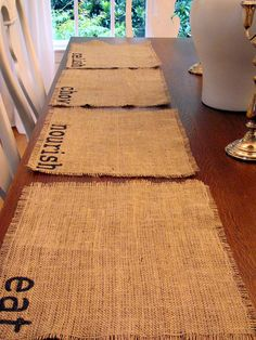 Burlap Place mats: Really how hard could it be to make these? A stamper, some ink and burlap