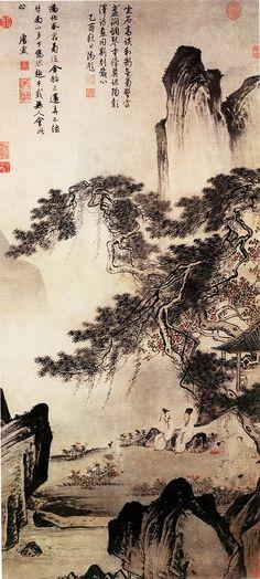 明 唐寅 东篱赏菊图 上海博物馆 | by China Online Museum - Chinese Art Galleries Chinese Brush, Ink Painting, Ink Art, Chinese Landscape Painting, Japanese Painting, Chinese Painting, Landscape Art, Landscape Paintings, Chinese Artwork