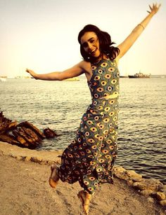 Lily Collins jumping for joy.. How else does one define happiness? Lol