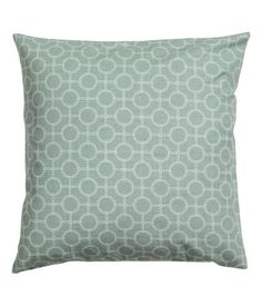 Dusky green. Cushion cover in slub-weave cotton fabric with a printed pattern. Concealed zip.