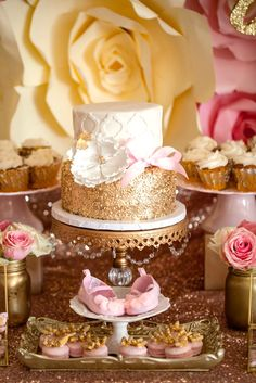 Gorgeous gold and white cake from a Pink & Gold Butterfly Baby Shower on Kara's Party Ideas | KarasPartyIdeas.com (10)