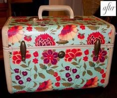before and after re-designed train case - so easy with wrapping paper and Mod Podge!
