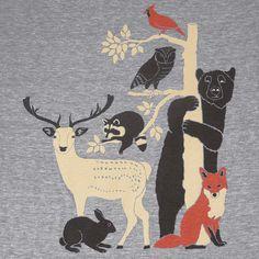 Forest Friends - Unisex / Mens T-Shirt Tee Shirt Deer Bird Fox Rabbit Owl Bear Raccoon Animals Tree Tshirt  - Ath Grey - Sizes  S, M, L, XL. $25.00, via Etsy.