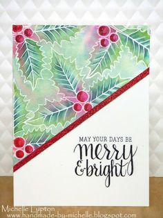 Handmade by Michelle: Holly and Poinsettias at A Blog Named Hero