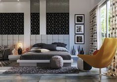 Double Bedroom with a Pattern Design that Emphasizes its Modern Style